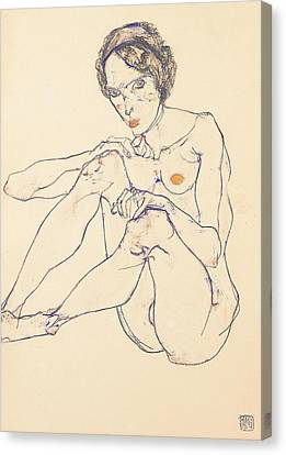 Seated Female Nude Canvas Print by Egon Schiele