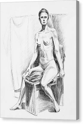 Seated Model Drawing  Canvas Print by Irina Sztukowski