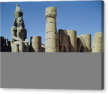 Seated Statue Of Ramesses II C.1279-1213 Bc In The Peristyle Court, New Kingdom Photo Canvas Print by Egyptian 19th Dynasty