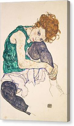 Seated Woman With Legs Drawn Up. Adele Herms Canvas Print by Egon Schiele