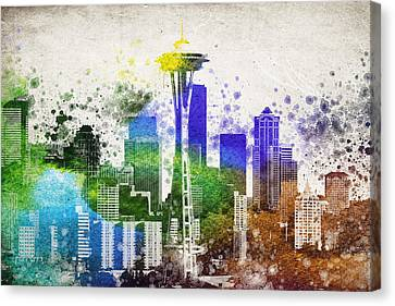 Seattle City Skyline Canvas Print by Aged Pixel