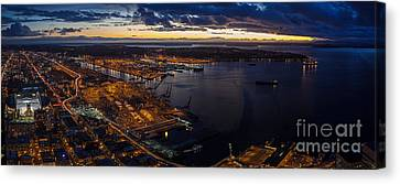 Seattle Monday Night Football Canvas Print by Mike Reid