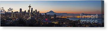 Seattle Morning Glow Canvas Print by Mike Reid