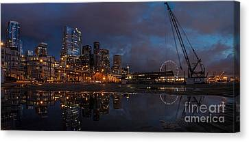 Seattle Night Skyline Canvas Print by Mike Reid