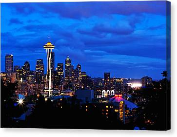 Seattle Night Skyline Canvas Print by Tanya Harrison