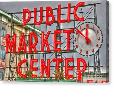Seattle Public Market Center Clock Sign Canvas Print by Tap On Photo
