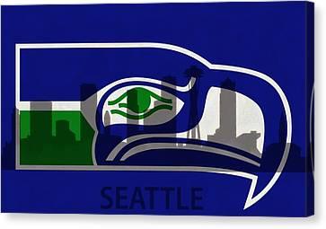 Seattle Seahawks On Seattle Skyline Canvas Print by Dan Sproul
