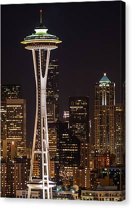 Seattle Skyline At Night - City Skyline Night Photograph Canvas Print by Duane Miller