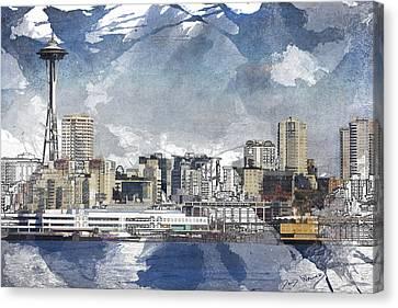 Seattle Skyline Freeform Canvas Print by David Wagner