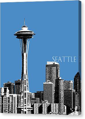 Seattle Skyline Space Needle - Slate Blue Canvas Print by DB Artist