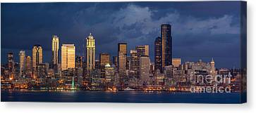 Seattle Skyline Sunset Detail Canvas Print by Mike Reid