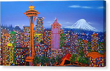 Seattle Space Needle 5 Canvas Print by Portland Art Creations