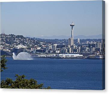 Seattle Space Needle And Fire Boat Canvas Print by Ron Roberts