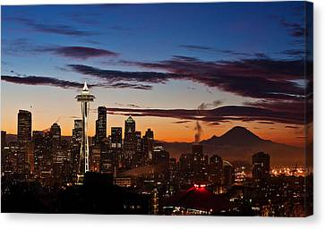 Seattle Sunrise Canvas Print by Mike Reid