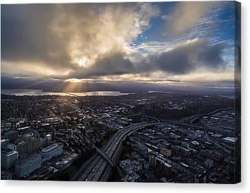 Seattle Sunrise Sunrays Canvas Print by Mike Reid