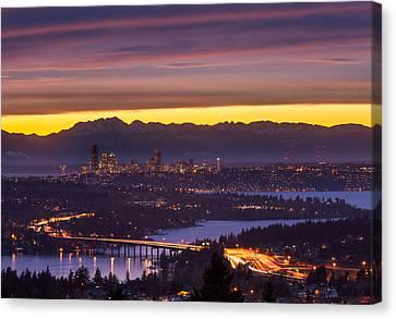 Seattle Twilight Canvas Print by Thorsten Scheuermann