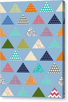 Seaview Triangles Blue Canvas Print by Sharon Turner