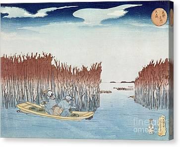 Seaweed Gatherers At Omari Canvas Print by Utagawa Kuniyoshi