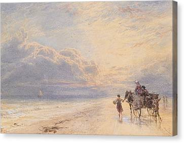 Seaweed Gatherers Canvas Print by Myles Birket Foster