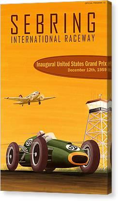 Sebring Usa Grand Prix 1959 Canvas Print by Georgia Fowler