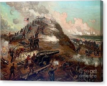 Second Battle Of Fort Fisher Canvas Print by American School