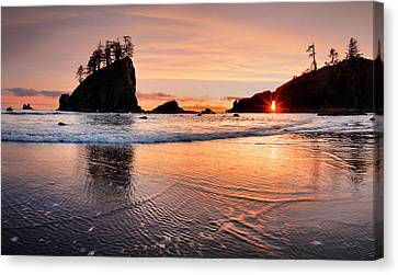 Second Beach Sunset Canvas Print by Leland D Howard