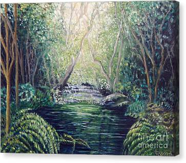 Secret Forest Pool Canvas Print by Caroline Street