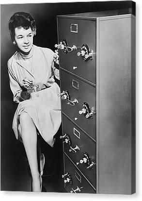 Secure Filing Cabinet Canvas Print by Underwood Archives