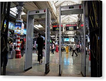 Security Scanners At Mumbai Station Canvas Print by Mark Williamson