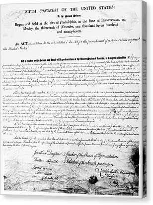 Sedition Act, 1798 Canvas Print by Granger