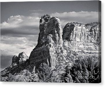 Sedona Arizona Mountain Peak - Black And White Canvas Print by Gregory Dyer