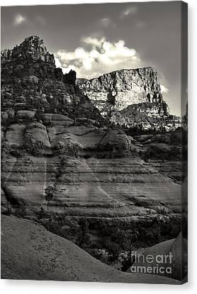 Sedona Arizona Mountains In Black And White - 02 Canvas Print by Gregory Dyer