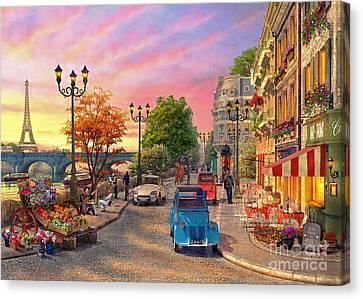 Seine Sunset Canvas Print by Dominic Davison