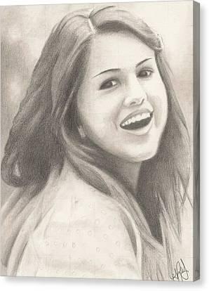 Selena Gomez Canvas Print by Kendra Tharaldsen-Franklin