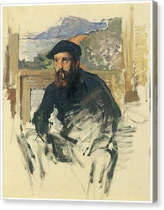 Self-portrait In His Atelier Canvas Print by Claude Monet