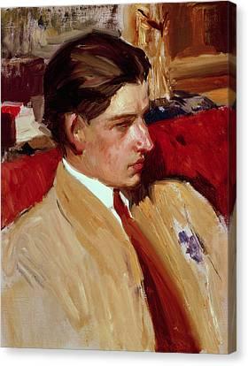 Self Portrait In Profile Canvas Print by Joaquin Sorolla y Bastida