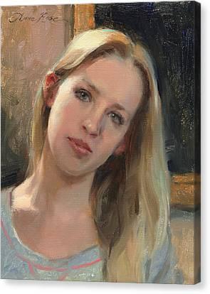 Self Portrait On A Saturday Canvas Print by Anna Rose Bain