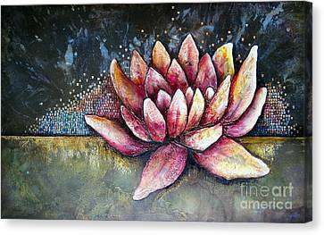 Self Portrait With Lotus Canvas Print by Shadia Zayed