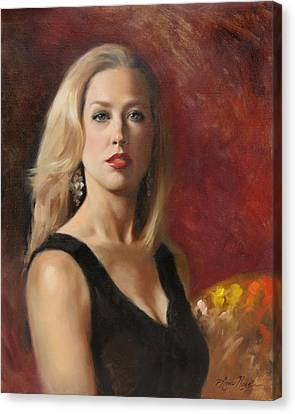 Self Portrait With Red Lipstick Canvas Print by Anna Rose Bain