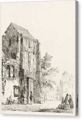 Sellers For A Church Portal, Cornelis Springer Canvas Print by Quint Lox