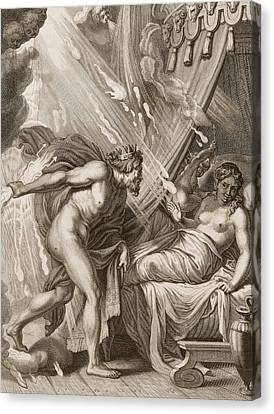 Semele Is Consumed By Jupiters Fire Canvas Print by Bernard Picart