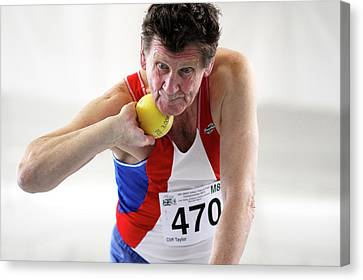Senior British Male Shot Put Competitor Canvas Print by Alex Rotas