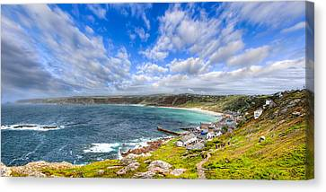Sennen Cove Panorama - Cornwall Canvas Print by Mark E Tisdale