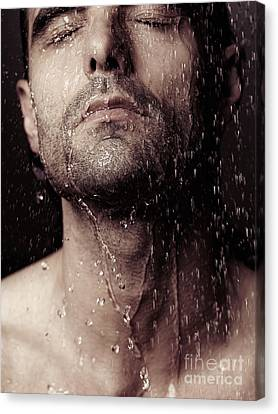 Sensual Portrait Of Man Face Under Shower Canvas Print by Oleksiy Maksymenko