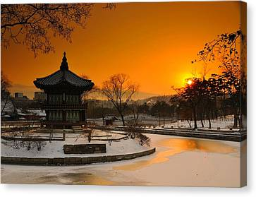 Seoul Palace Sunset Canvas Print by Aaron S Bedell