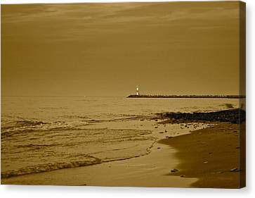 Sepia Lighthouse Canvas Print by Frozen in Time Fine Art Photography