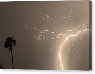 Sepia Tropical Thunderstorm Night  Canvas Print by James BO  Insogna