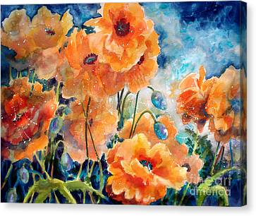September Orange Poppies            Canvas Print by Kathy Braud