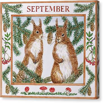 September Wc On Paper Canvas Print by Catherine Bradbury