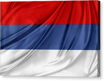 Serbian Flag Canvas Print by Les Cunliffe